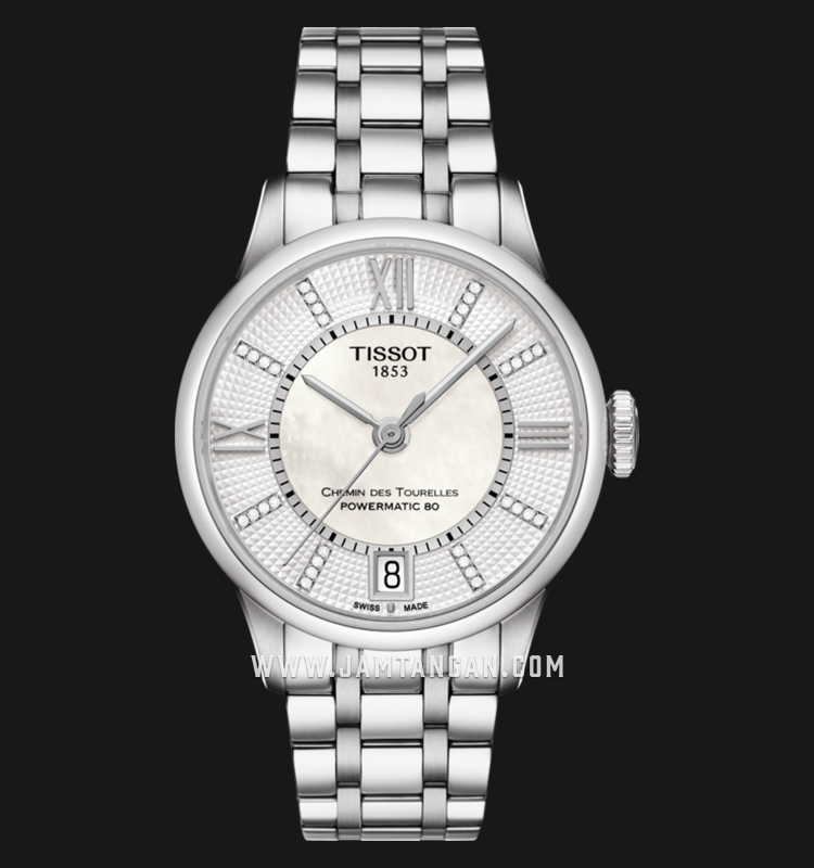 TISSOT Chemin Des Tourelles T099.207.11.116.00 Powermatic 80 White MOP Dial Stainless Steel Strap Machtwatch