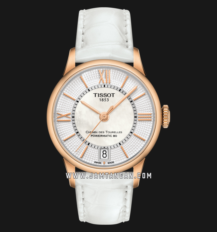 Tissot T099.207.36.118.00 Chemin Des Tourelles Powermatic 80 White MOP Dial White Leather Strap Machtwatch