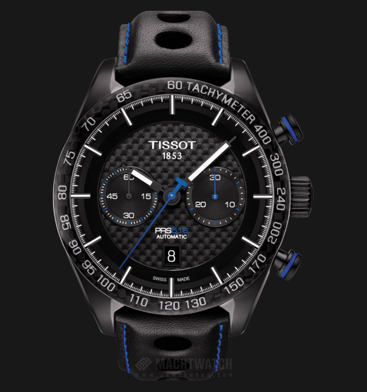 TISSOT PRS 516 Automatic Chronograph T100.427.36.201.00 Black Pattern Dial Black Leather Strap Machtwatch