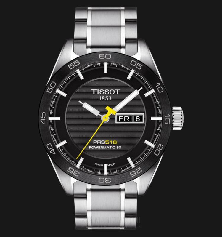 TISSOT PRS 516 Powermatic80 T100.430.11.051.00 Black Pattern Dial Stainless Steel Machtwatch