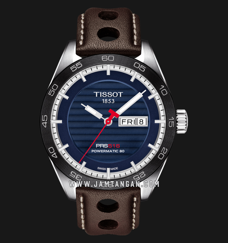 Tissot T100.430.16.041.00 PRS 516 Powermatic 80 Men Blue Dial Brown Leather Strap Machtwatch