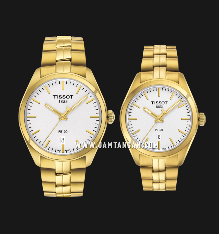 TISSOT T101.410.33.031.00_T101.210.33.031.00 T-Classic PR100 Couple Gold Stainless Steel Strap Machtwatch