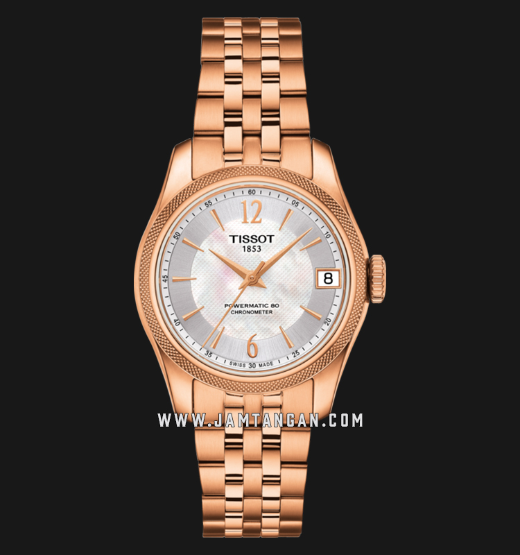 Tissot T108.208.33.117.00 Ballade Powermatic 80 COSC Ladies White MOP Dial Rose Gold S.Steel Strap Machtwatch