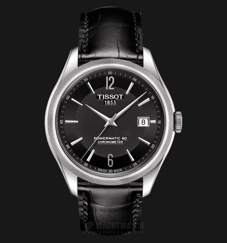 TISSOT Ballade Powermatic80 COSC T108.408.16.057.00 Black Dial Black Leather Strap Machtwatch