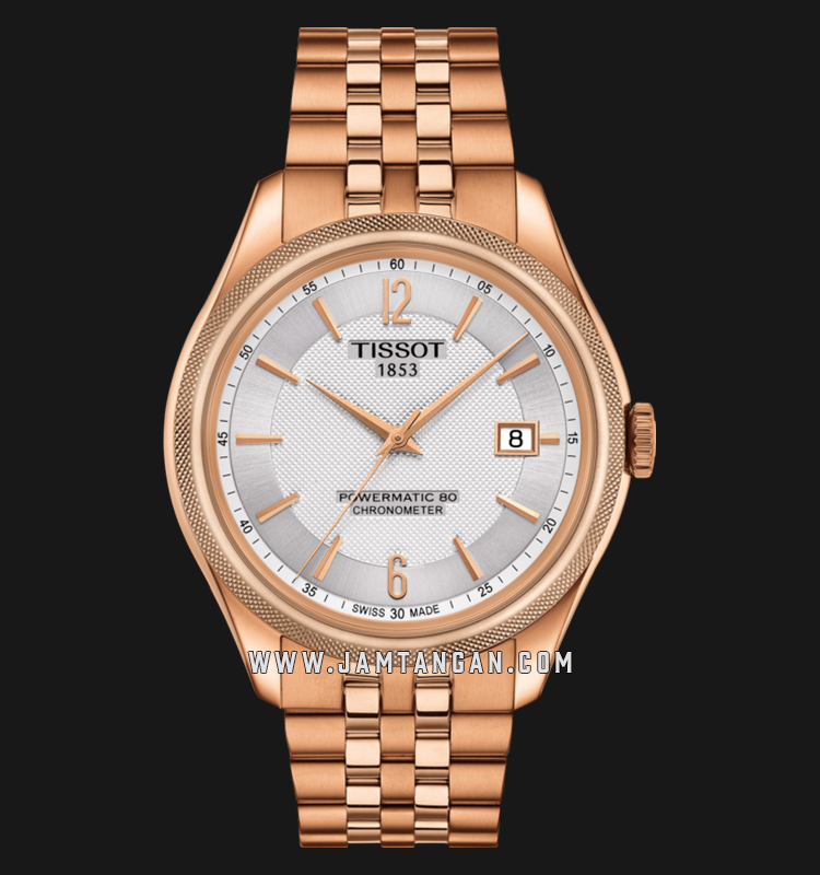 Tissot T108.408.33.037.00 Ballade Powermatic 80 COSC Men White MOP Dial Rose Gold S.Steel Strap Machtwatch