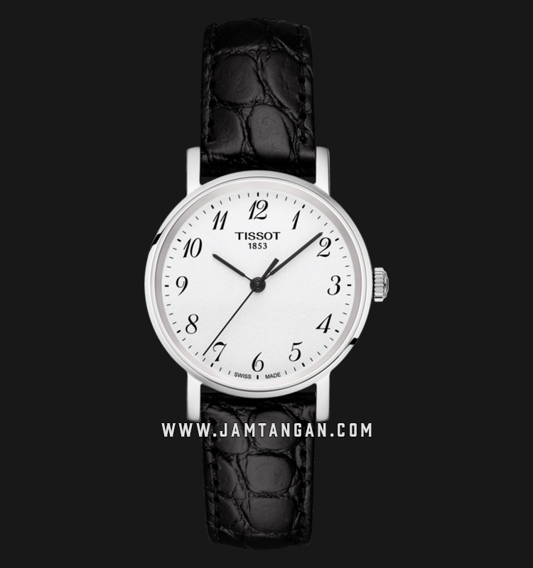 Tissot T109.210.16.032.00 Everytime Small Ladies Silver Dial Black Leather Strap Machtwatch
