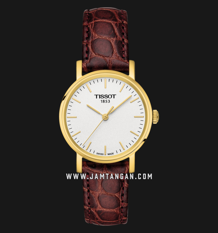 Tissot T109.210.36.031.00 Everytime Small Ladies Silver Dial Brown Leather Strap Machtwatch