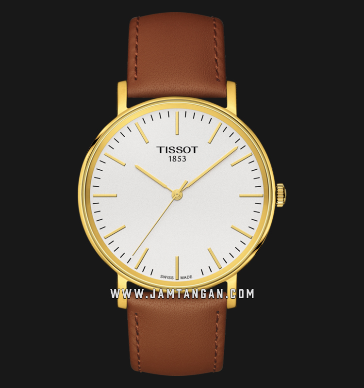 Tissot T109.410.36.031.00 Everytime Medium Unisex Silver Dial Brown Leather Strap Machtwatch