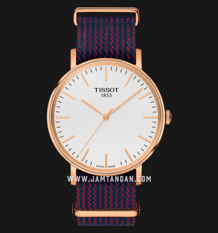 TISSOT Everytime Medium NATO T109.410.38.031.00 Silver Dial Dual Color Nylon Strap Machtwatch