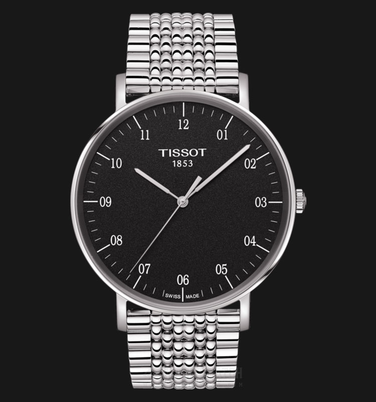 Tissot Everytime T109.610.11.077.00 Man Black Dial Stainless Steel Strap Machtwatch