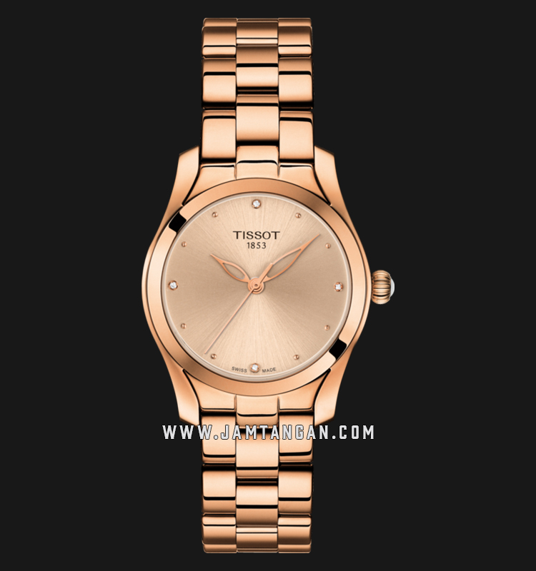 Tissot T112.210.33.456.00 T-Wave Ladies Rose Gold Dial Rose Gold Stainless Steel Strap Machtwatch