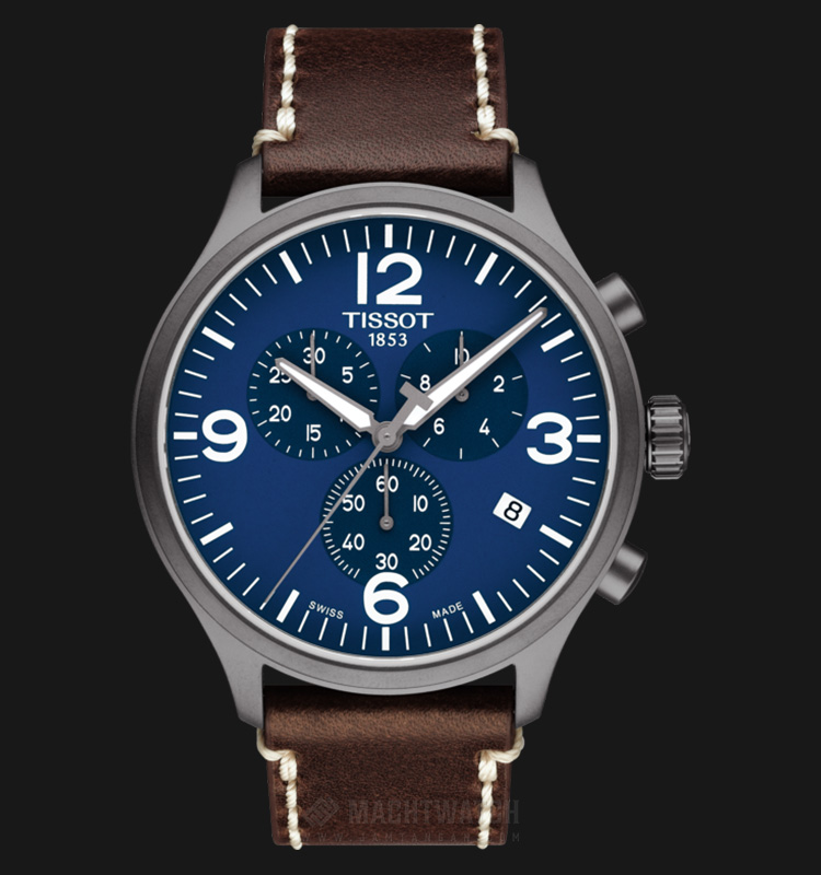 TISSOT T-Sport Chrono XL T116.617.36.047.00 Blue Dial Brown Leather Strap Machtwatch