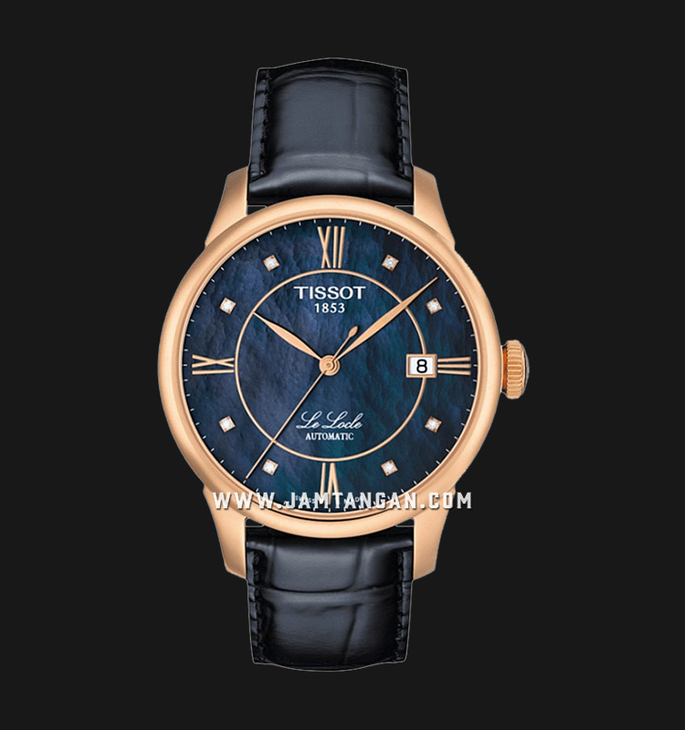 Tissot Le Locle T41.6.423.96 Automatic Blue Mother of Pearl Dial Black Leather Strap Machtwatch