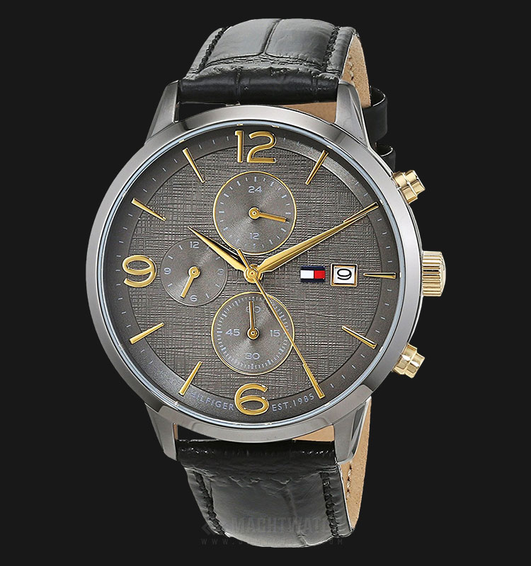 Tommy Hilfiger 1710357 Liam Men Grey Dial Black Leather Strap Machtwatch