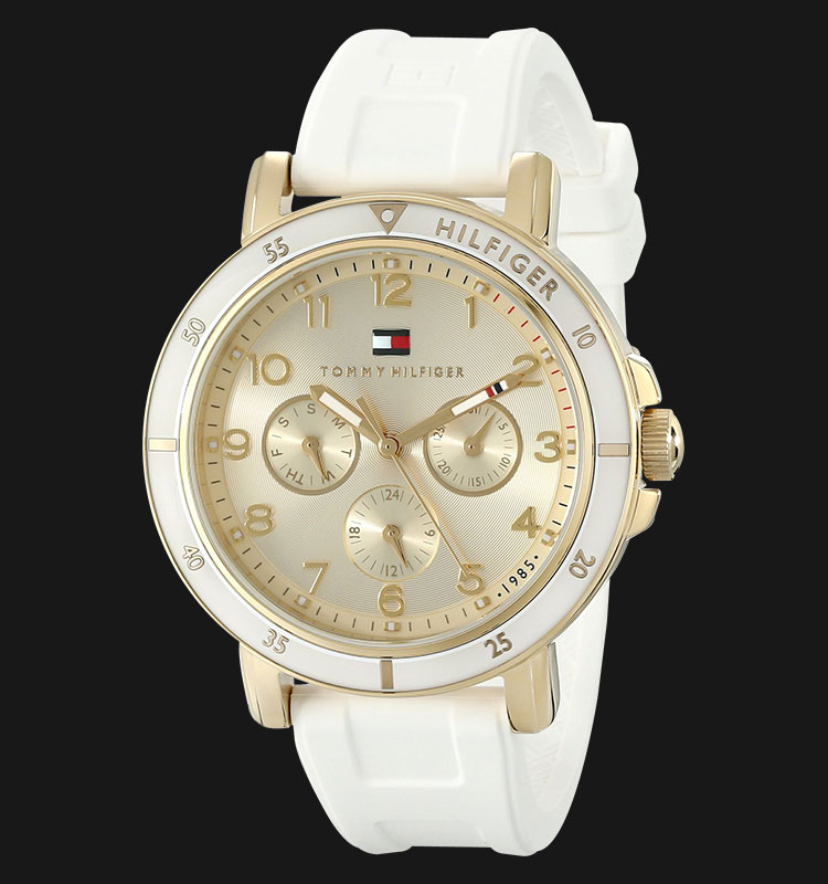 Tommy Hilfiger 1781511 Gold-Tone Sport Watch with White Silicone Band Machtwatch