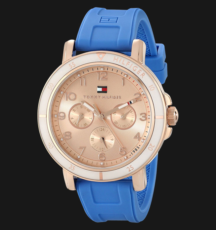 Tommy Hilfiger 1781512 Gold-Tone Sport Watch with Blue Silicone Band Machtwatch