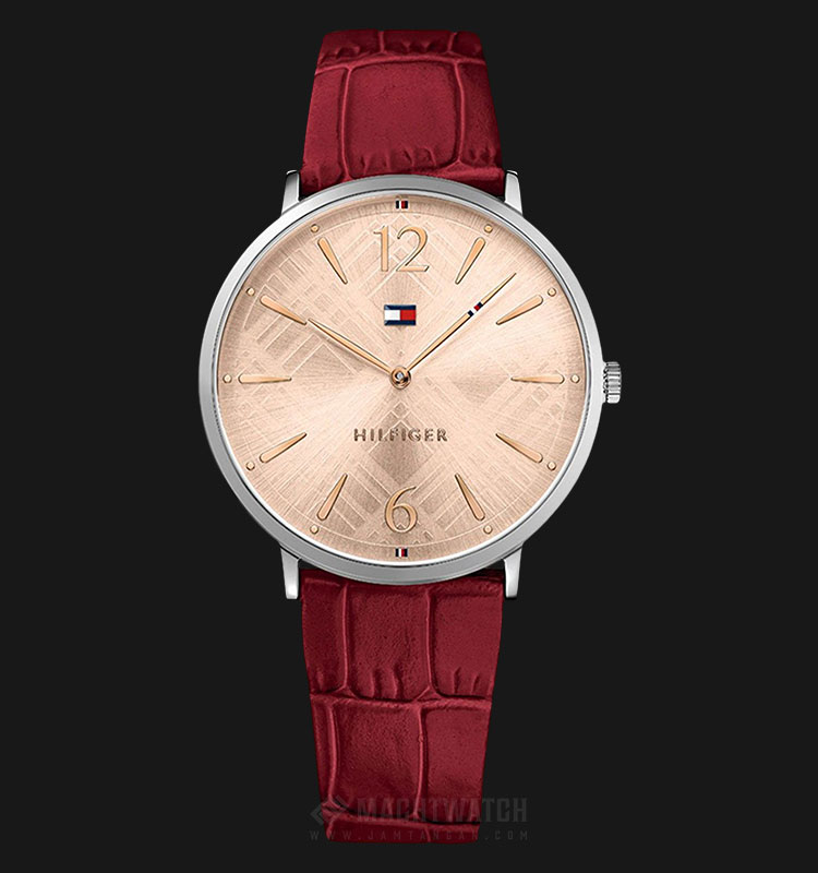Tommy Hilfiger 1781841 Pippa Ladies Rose Gold Dial Red Leather Strap Machtwatch
