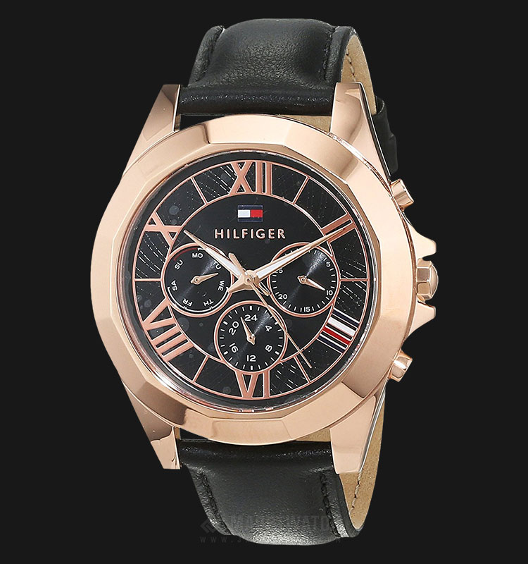 Tommy Hilfiger 1781845 Ladies Black Dial Black Leather Strap Machtwatch