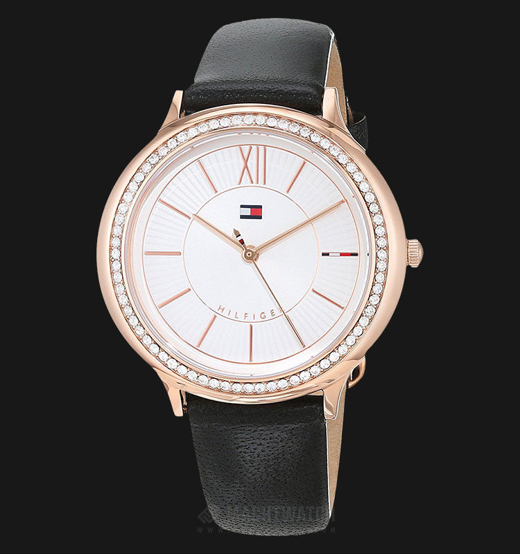 Tommy Hilfiger 1781853 Ladies Silver Dial Black Leather Strap Machtwatch