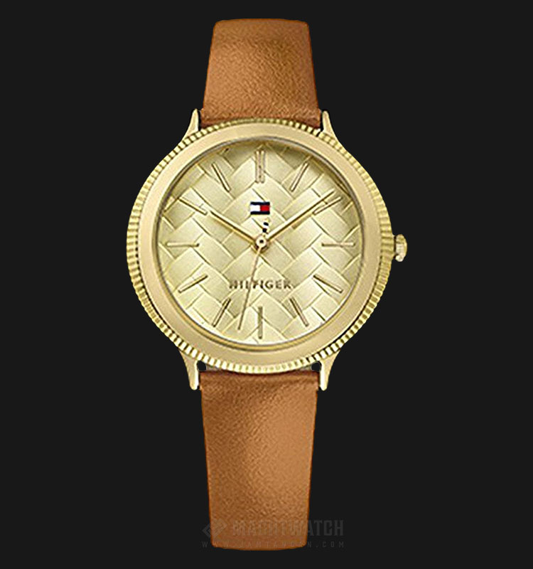 Tommy Hilfiger 1781859 Candice Ladies Gold Dial Brown Leather Strap Machtwatch