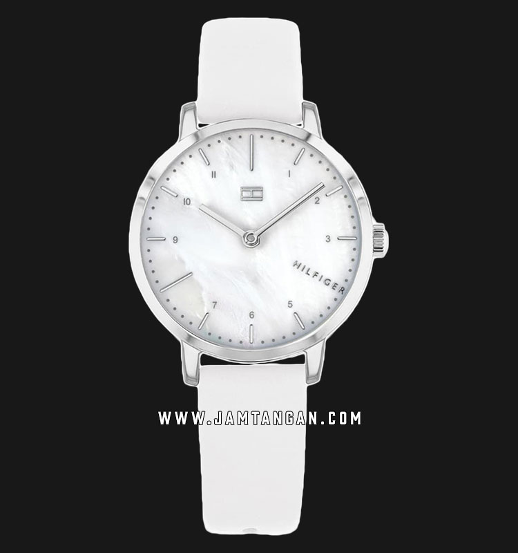 Tommy Hilfiger 1782037 Lily Ladies Mother Of Pearl Dial White Leather Strap Machtwatch