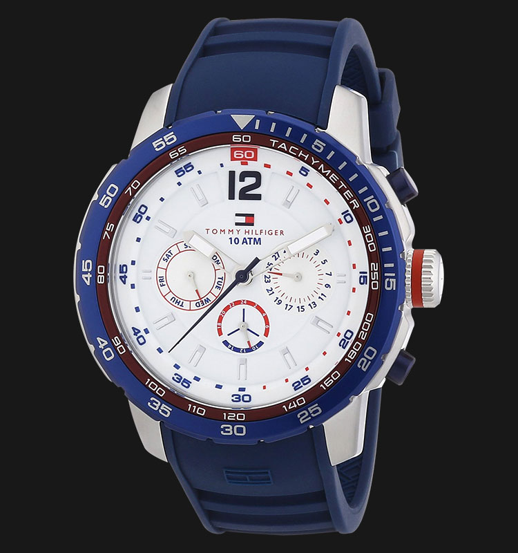 Tommy Hilfiger 1790887 Multi Function White Dial Rubber Strap Machtwatch