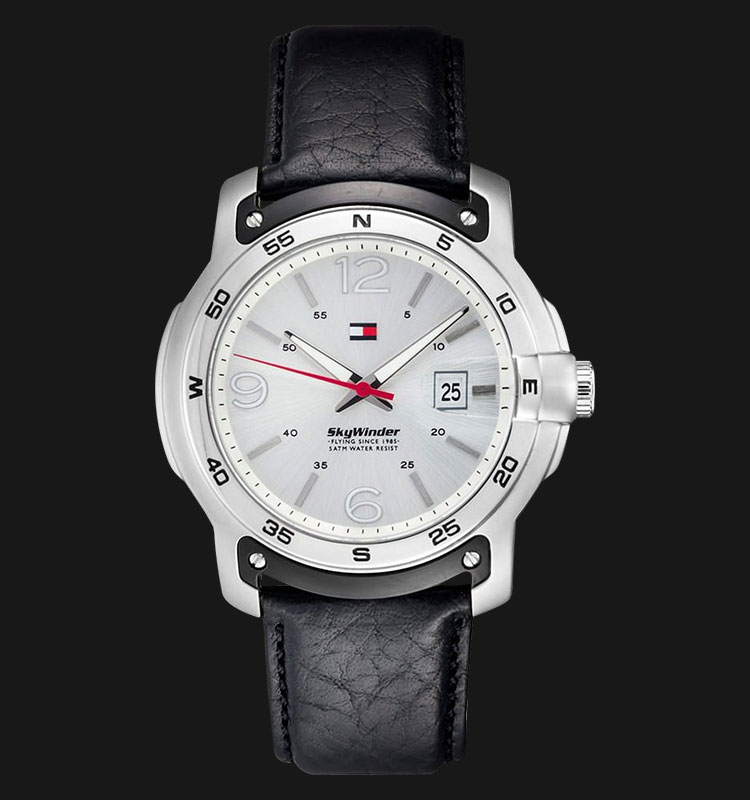 Tommy Hilfiger 1790899 Watch Sky Winder Silver Dial Leather Strap Machtwatch