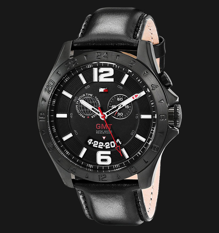 Tommy Hilfiger 1790972 Cool Sport Stainless Steel Black Leather Strap Machtwatch