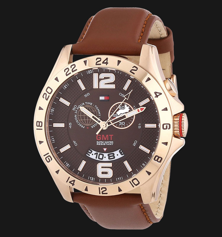 Tommy Hilfiger 1790974 Cool Sport Stainless Steel Brown Leather Strap Machtwatch