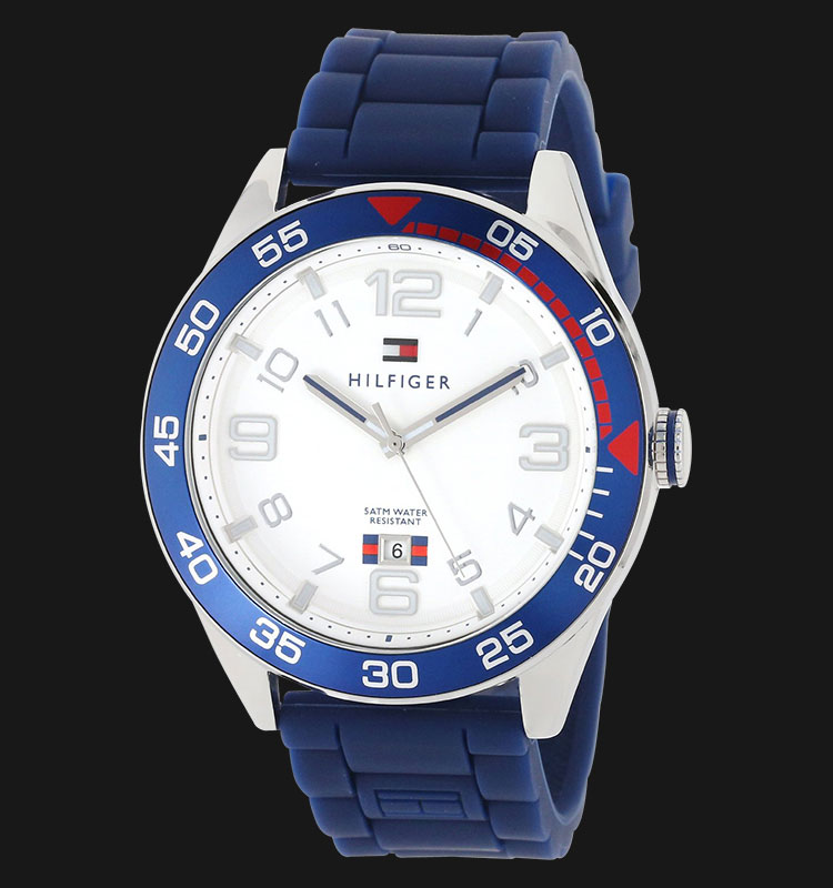 Tommy Hilfiger 1790977 Stainless Steel Watch With Blue Silicone Band Machtwatch