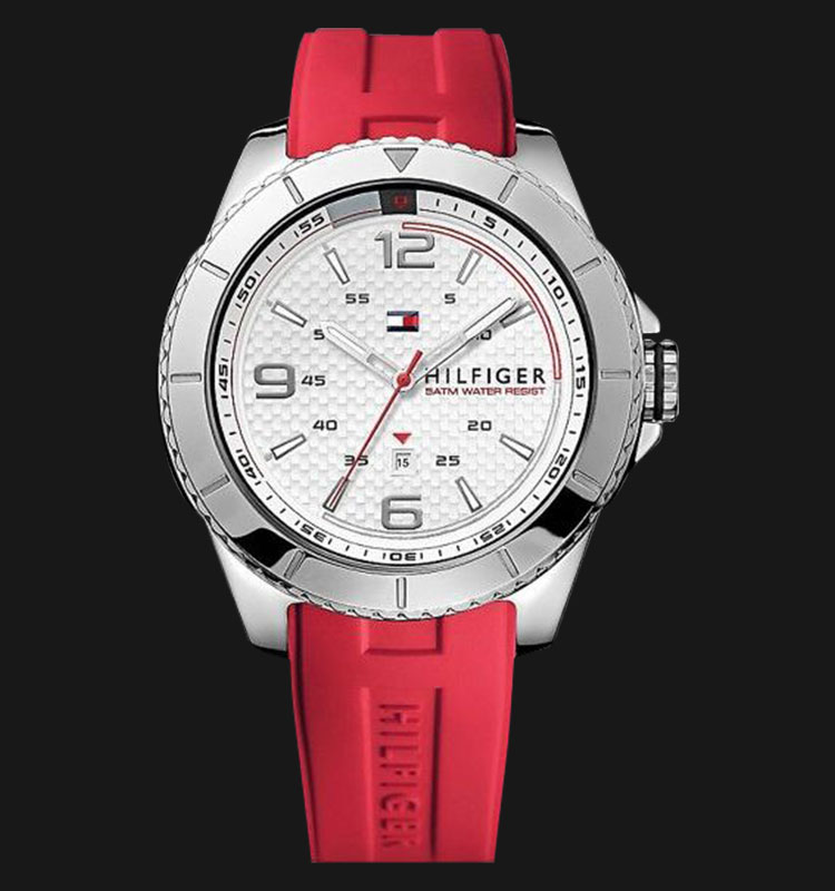 Tommy Hilfiger 1790998 Stainless Steel Watch With Red Silicone Band Machtwatch