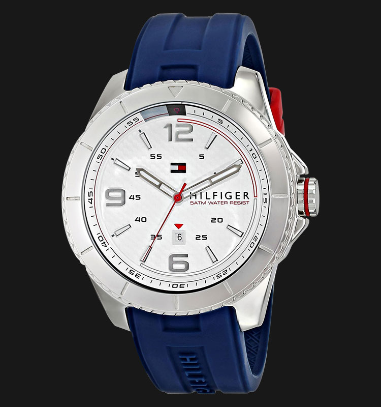 Tommy Hilfiger 1791000 Stainless Steel Watch With Blue Silicone Band Machtwatch