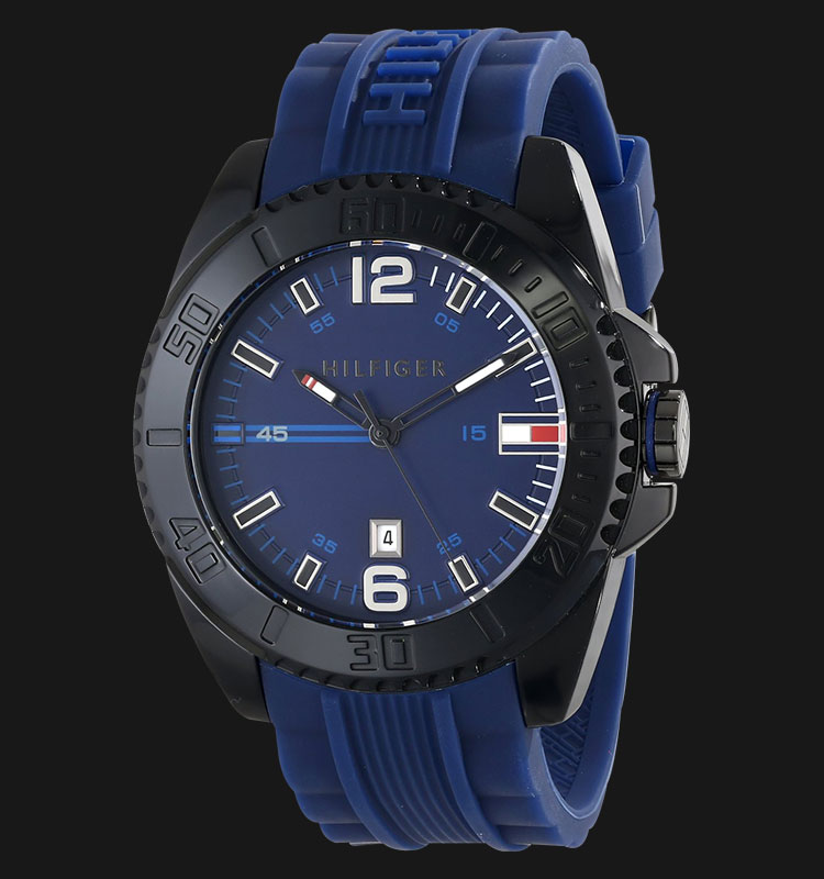 Tommy Hilfiger 1791040 Black IP Stainless Steel Blue Rubber Strap Machtwatch