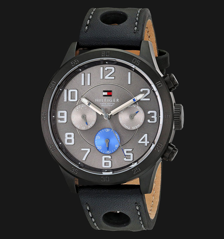 Tommy Hilfiger 1791051 Stainless Steel Black Leather Strap Machtwatch