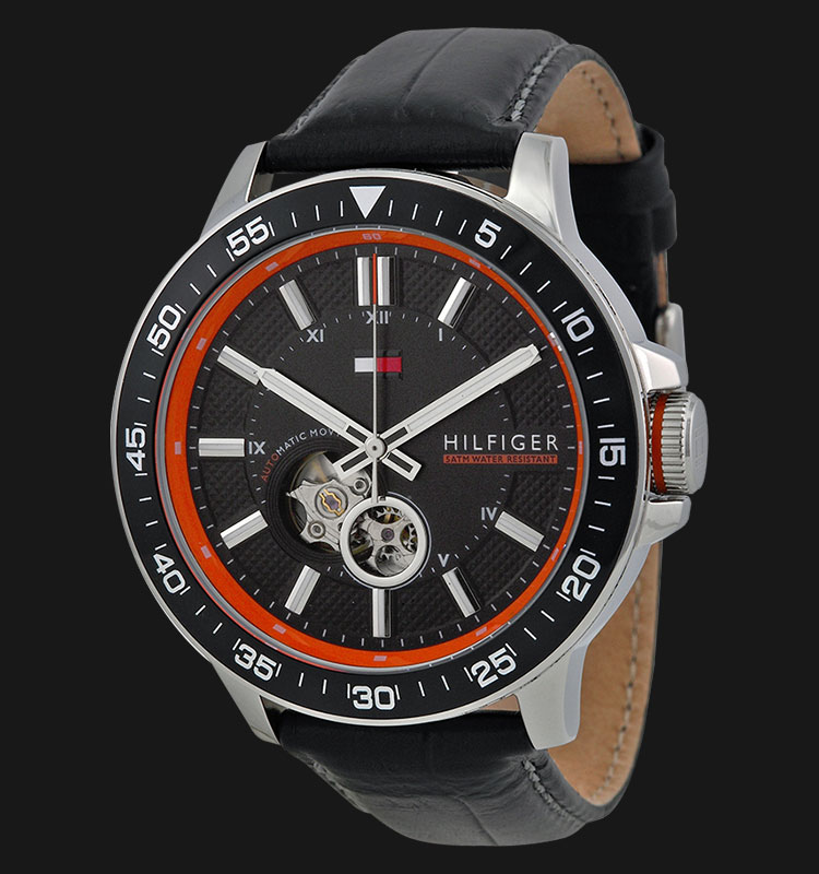 Tommy Hilfiger 1791055 Stainless Steel Skeletal Display Black Leather Strap Machtwatch
