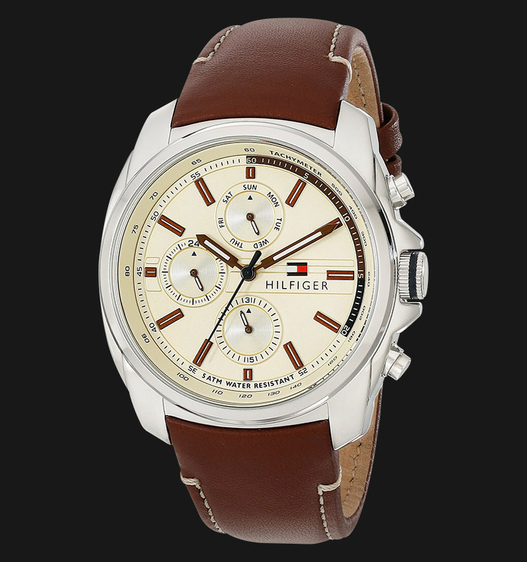 Tommy Hilfiger 1791079 Stainless Steel Brown Leather Strap Machtwatch