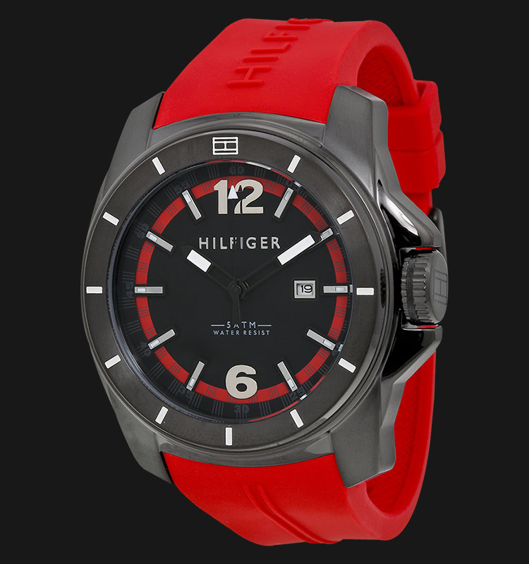 Tommy Hilfiger 1791112 Stainless Steel Red Rubber Strap Machtwatch