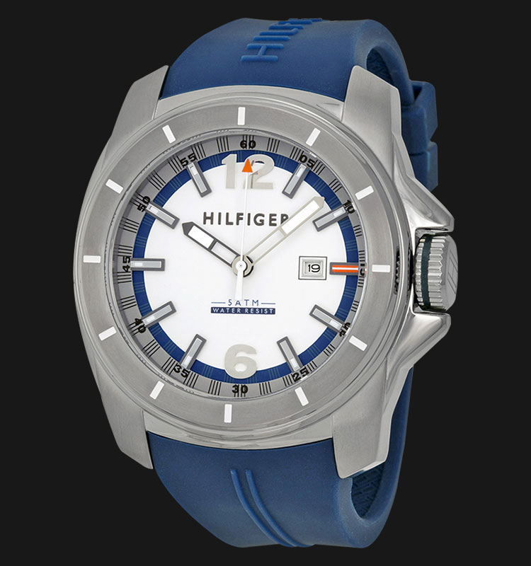Tommy Hilfiger 1791113 Stainless Steel Blue Rubber Strap Machtwatch