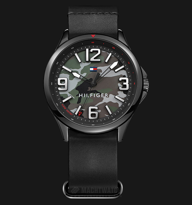 Tommy Hilfiger Mason 1791333 Men Military Dial Black Leather Strap Machtwatch