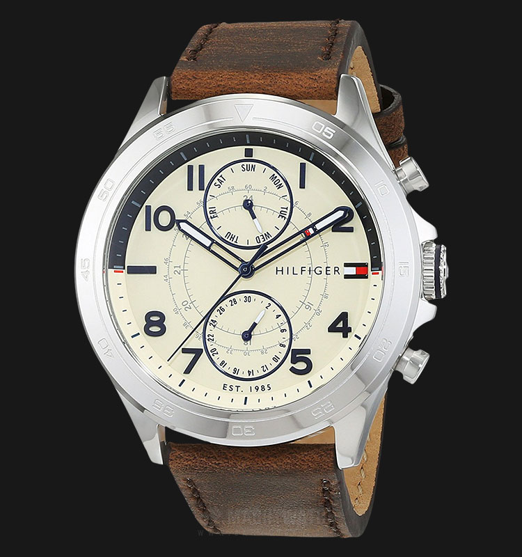 Tommy Hilfiger 1791344 Men Beige Dial Brown Leather Strap Machtwatch