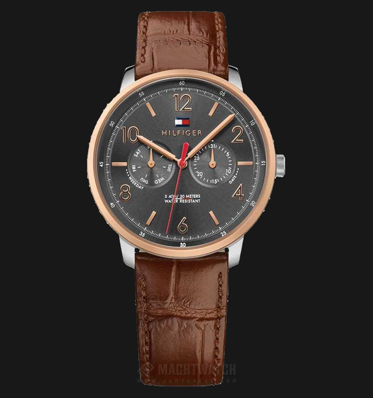 Tommy Hilfiger 1791357 Men Grey Dial Brown Rose Gold Case Brown Leather Strap Machtwatch