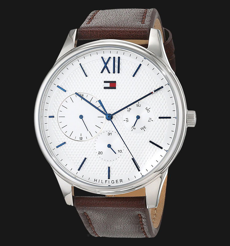 Tommy Hilfiger 1791418 Damon Men Silver Dial Brown Leather Strap Machtwatch