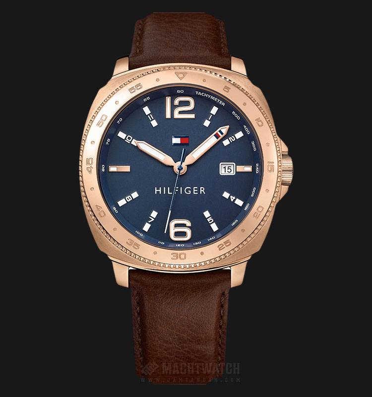 Tommy Hilfiger 1791431 Lucas Men Blue Dial Brown Leather Strap Machtwatch