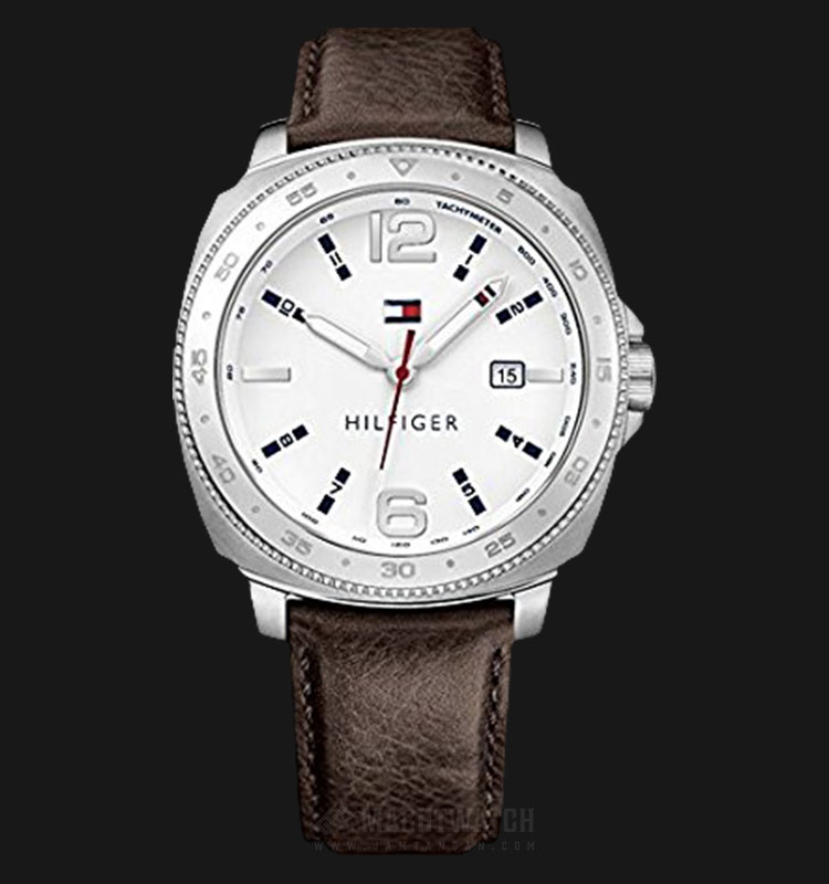Tommy Hilfiger 1791432 Lucas Men White Dial Brown Leather Strap Machtwatch