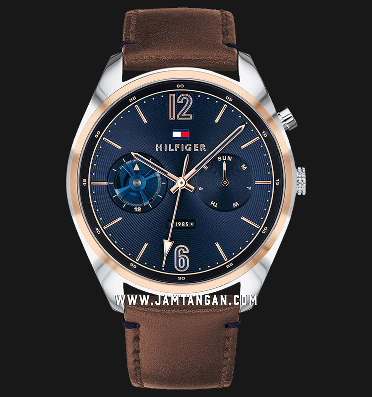 Tommy Hilfiger 1791549 Deacan Men Blue Dial Brown Leather Strap