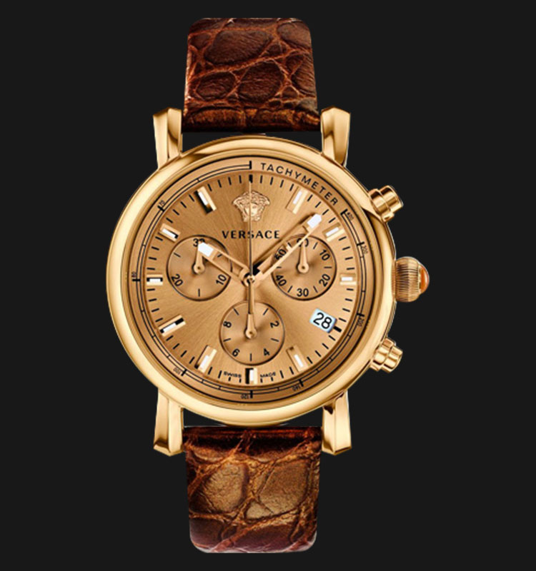 VERSACE VLB07 0014 Day Glam Brown Leather Strap Machtwatch