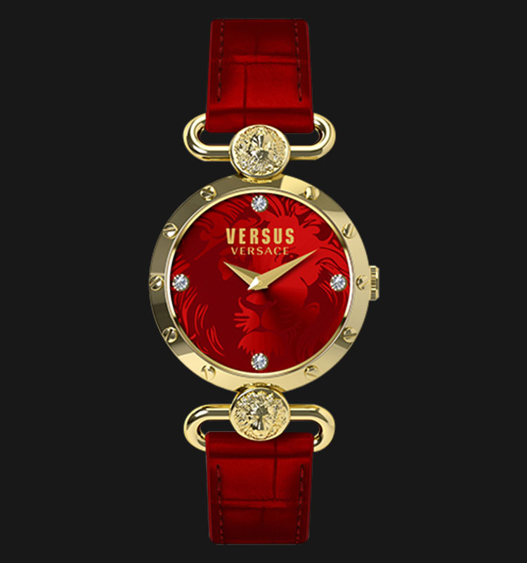 VERSUS SOL03 0015 Sunnyridge Gold PVD Coating Red Leather Band Machtwatch